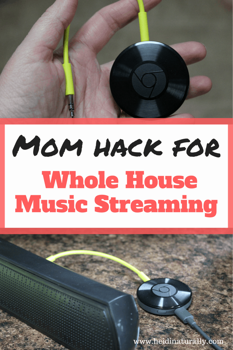 Learn how to use a wireless device to stream music all over your house. Find out how this non-techie mom easily installed Chromecast Audio in her home.