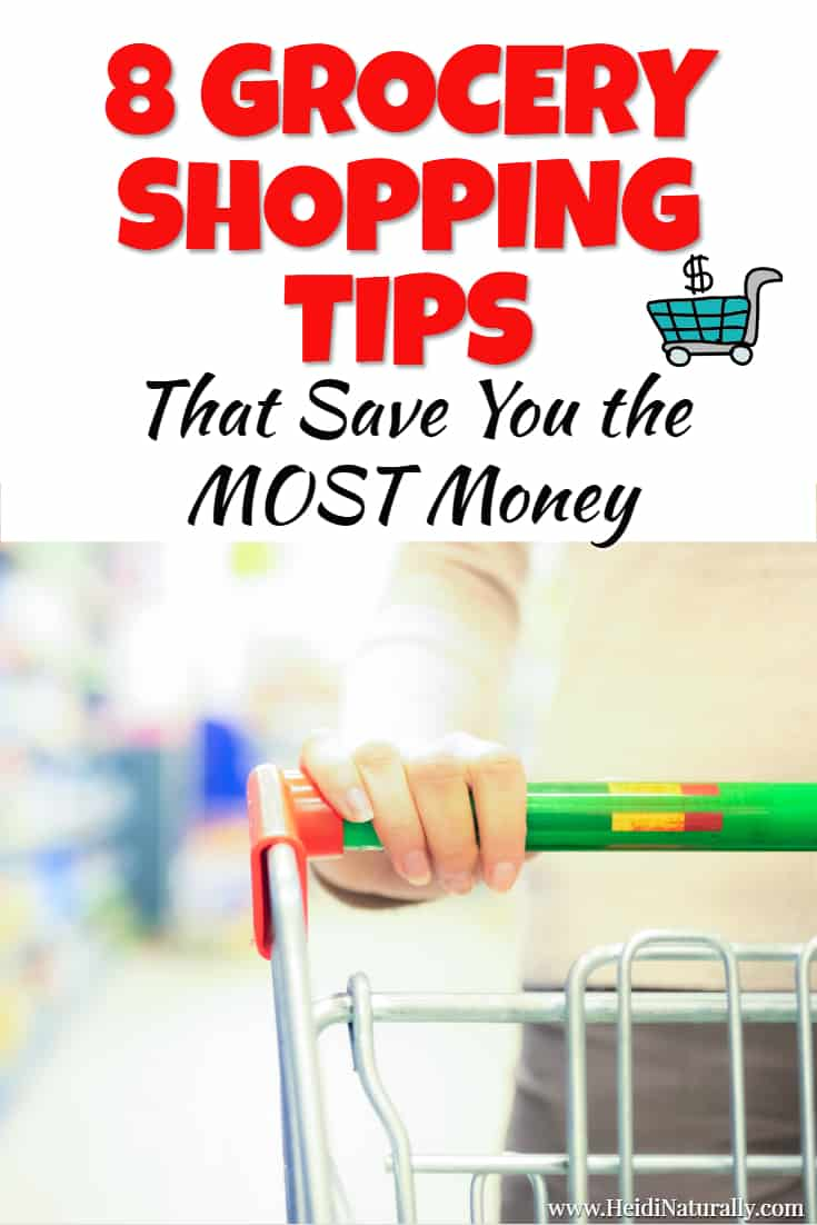 Check out the 8 best grocery shopping tips to save the most money. Find out how to save money grocery shopping and still eat well. #groceryshoppingtips #savemoney #grocerylist #shopsmart #shoppingtips #howtosavemoney